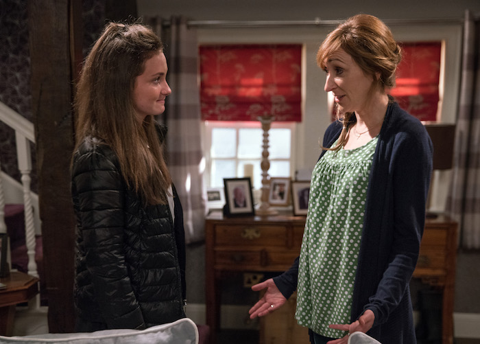 Gabby Thomas is angry after finding out from Arthur what has been going on whilst she's been away.