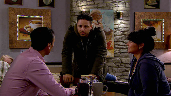 Adam Barton is put out when he realises Jai Shamra and Moira Dingle are planning a memorial for Holly