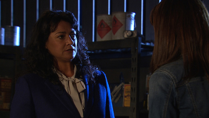Emma Barton and Moira Dingle soon come to blows.