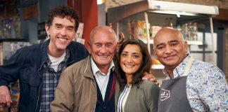 Emmerdale cast Mark Charnock, Rebecca Sarker and Bhasker Patel with comedian Tommy Cannon.